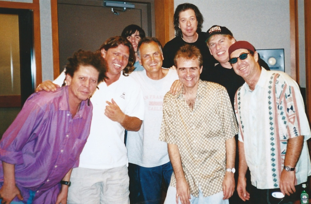 Steve Louw in studio recordingBeyond The Bluewith (from left) Blondie Chaplin, Kevin Shirley, Steve, Keith Lentin, Adam Holzman, Pat Thrall and Anton Fig.