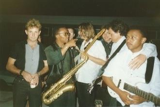 Waiting for the Dawn Tour in 1990 (l-to-r): Dish Devey, Mccoy Mrubata, Dan Heyman, Willem Moller, Terence Reis, Steve Louw, Jimmy Mngwandi