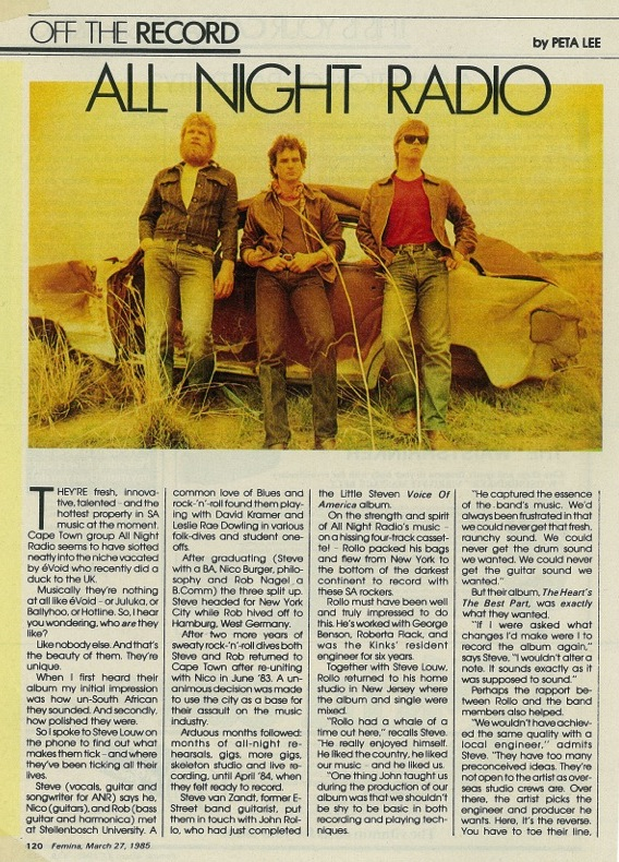 Steve Louw (center) with Rob Nagel and Nico Burger - Off the Record, March 1985